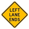 Lyle W9-1L-24HA Traffic Sign, 24 x 24In, BK/YEL, Text, W9-1L