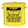 Justrite 09200Y Countertop Oily Waste Can, 2 Gal., Yellow