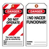 Brady 66065 Danger Bilingual Tag, 5-3/4 x 3 In, PK25