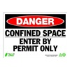 Zing 2091 Sign, Danger Confined Space, 10x14, Plastc