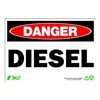 Zing 1092 Sign, Danger Diesel, 7x10, Plastic