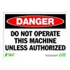 Zing 2095 Sign, Danger Do Not Operate, 10x14, Plastc