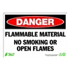 Zing 1100 Sign, Danger Flammable Material, 7x10