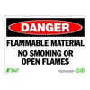 Zing 2100 Sign, Danger Flammable Material, 10x14