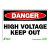Zing 1104 Sign, Danger High Voltage, 7x10, Plastic