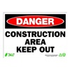 Zing 2112 Sign, Danger Construction Area, 10x14