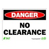Zing 2116 Sign, Danger No Clearance, 10x14, Plastic