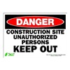 Zing 1121S Sign, Danger Construction Site, 7x10
