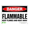Zing 1125S Sign, Danger Flammable, 7x10, Adhesive