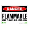 Zing 2125 Sign, Danger Flammable, 10x14, Plastic