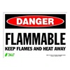 Zing 2125S Sign, Danger Flammable, 10x14, Adhesive