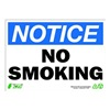 Zing 2133 Sign, Notice No Smoking, 10x14, Plastic