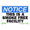 Zing 1136 Notice No Smoking Sign, 7 x 10In, ENG, Text