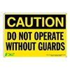 Zing 1157S Caution Sign, 7 x 10In, BK/YEL, ENG, Text