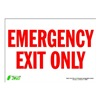 Zing 1084S Sign, Emergency Exit Only, 7x10, Adhesive