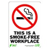 Zing 1087 Sign, Smokefree Workplace, 10x7, Plastic