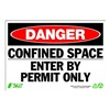 Zing 1091 Sign, Danger Confined Space, 7x10, Plastic