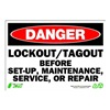 Zing 1107 Sign, Danger LockOut-Tagout, 7x10, Plastic