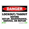 Zing 2107 Sign, Danger LockOut-Tagout, 10x14, Plastic