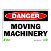 Zing 1108 Sign, Danger Moving Machinery, 7x10