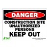 Zing 2121S Sign, Danger Construction Site, 10x14