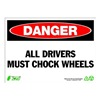 Zing 2124 Sign, Danger Chock Wheels, 10x14, Plastic