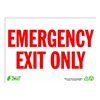 Zing 2084 Sign, Emergency Exit Only, 10x14, Plastic