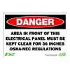 Zing 1089 Sign, Danger Electrical Panel, 7x10