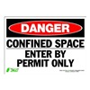 Zing 1091S Sign, Danger Confined Space, 7x10, Adhesive