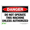 Zing 1095S Sign, Danger Do Not Operate, 7x10, Adhesive