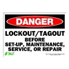 Zing 1107S Sign, Danger LockOut-Tagout, 7x10