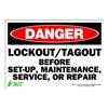 Zing 1107S Sign, Danger LockOut-Tagout, 7x10