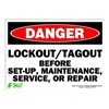 Zing 2107S Sign, Danger LockOut-Tagout, 10x14