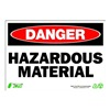 Zing 1114 Sign, Danger Hazardous Material, 7x10