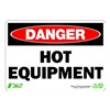 Zing 1126 Sign, Danger Hot Equipment, 7x10, Plastic