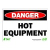 Zing 2126 Sign, Danger Hot Equipment, 10x14, Plastic