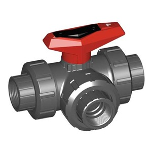 Gf Piping Systems Ball Valve, 3Way, 1-1/2 In, FNPT, PVC at Sears.com