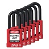 Zing 7063 Lockout Padlock, KA, Red, 1/4 In., PK6
