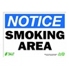 Zing 2135A Smoking Area Sign, 10 x 14In, Recycled AL