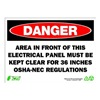 Zing 2089 Sign, Danger Electrical Panel, 10x14