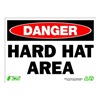 Zing 2102 Sign, Danger Hard Hat Area, 10x14, Plastic