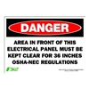 Zing 1089S Sign, Danger Electrical Panel, 7x10