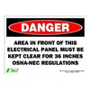 Zing 2089S Sign, Danger Electrical Panel, 10x14