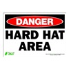 Zing 1102S Sign, Danger Hard Hat Area, 7x10, Adhesive