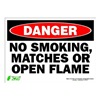Zing 2110S Sign, Danger No Smoking, 10x14, Adhesive