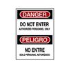 Brady 38104 Danger Sign, 14 x 10In, R and BK/WHT, Text